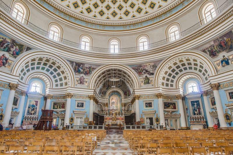 Kyrklig rotunda av Mosta, Malta arkivfoto