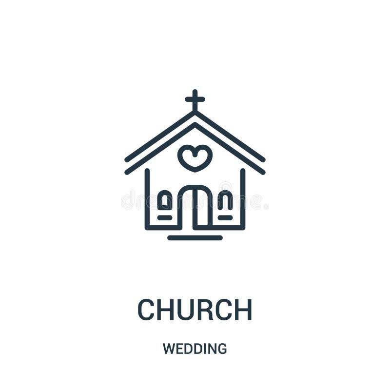 kyrklig symbolsvektor från att gifta sig samlingen Tunn linje kyrklig illustration för översiktssymbolsvektor Linjärt symbol för  royaltyfri illustrationer
