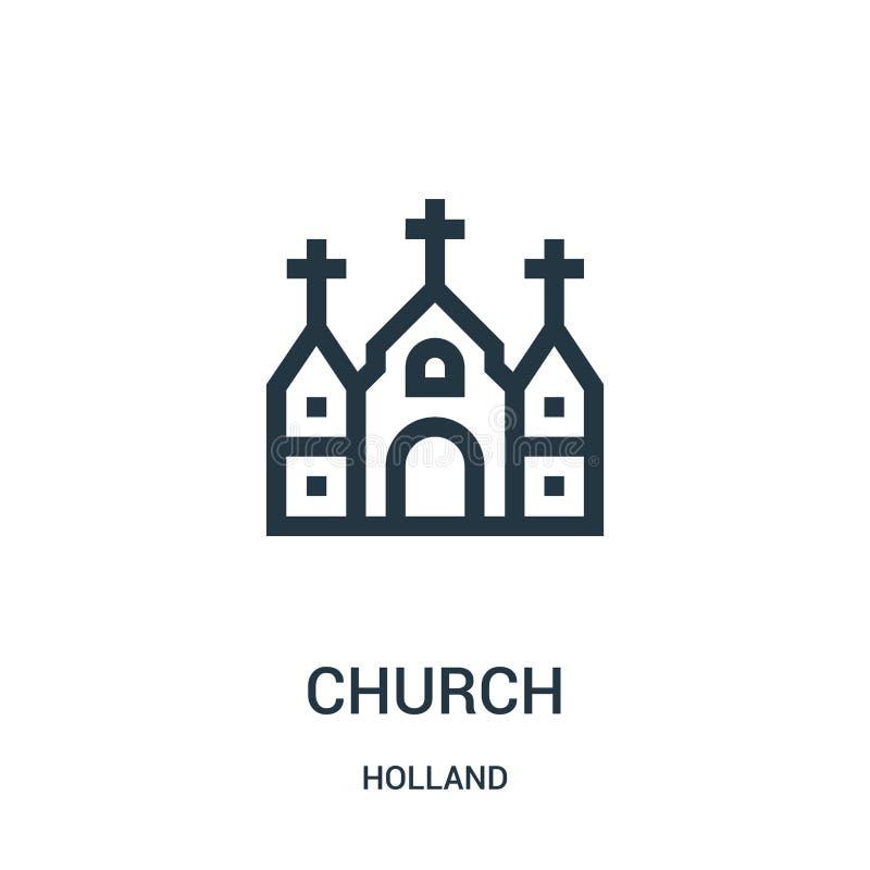 kyrklig symbolsvektor från den holland samlingen Tunn linje kyrklig illustration för översiktssymbolsvektor Linjärt symbol för br royaltyfri illustrationer