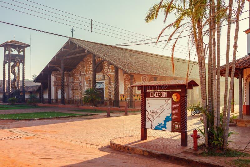 Kyrkliga Concepcion, jesuitbeskickningar i regionen av Chiquitos, Bolivia arkivfoton