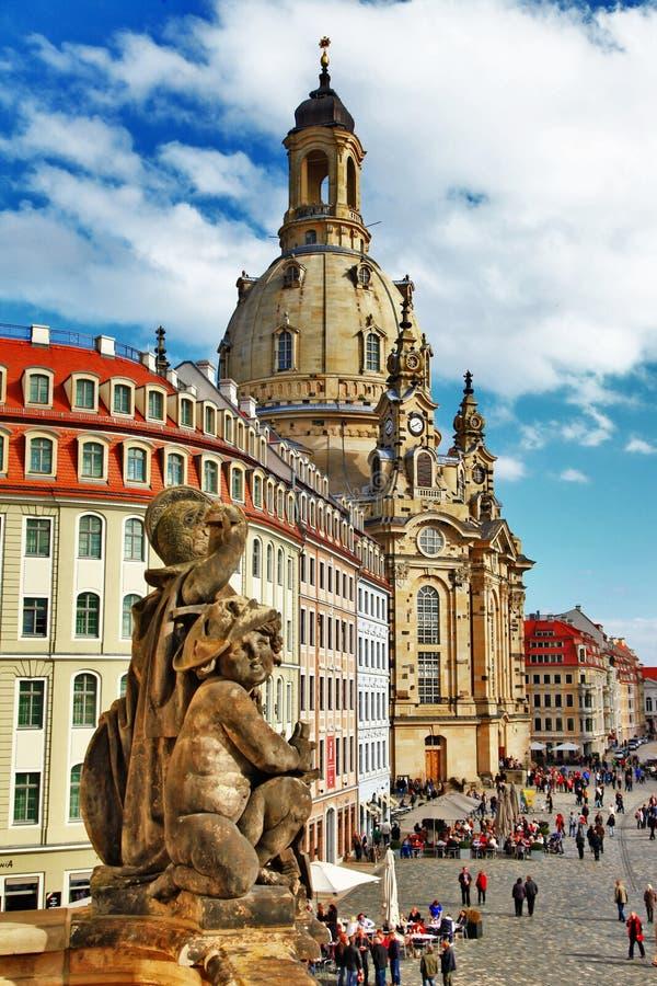 Kyrkliga Frauenkirche i Dresden royaltyfria bilder