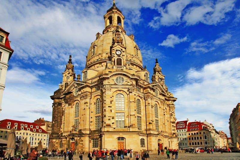 Kyrkliga Frauenkirche i Dresden royaltyfri foto