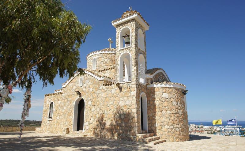Kyrkliga Profitis Ilias, Protaras, Cypern arkivfoto