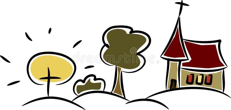 kyrkligt färgrikt land ii little royaltyfri illustrationer