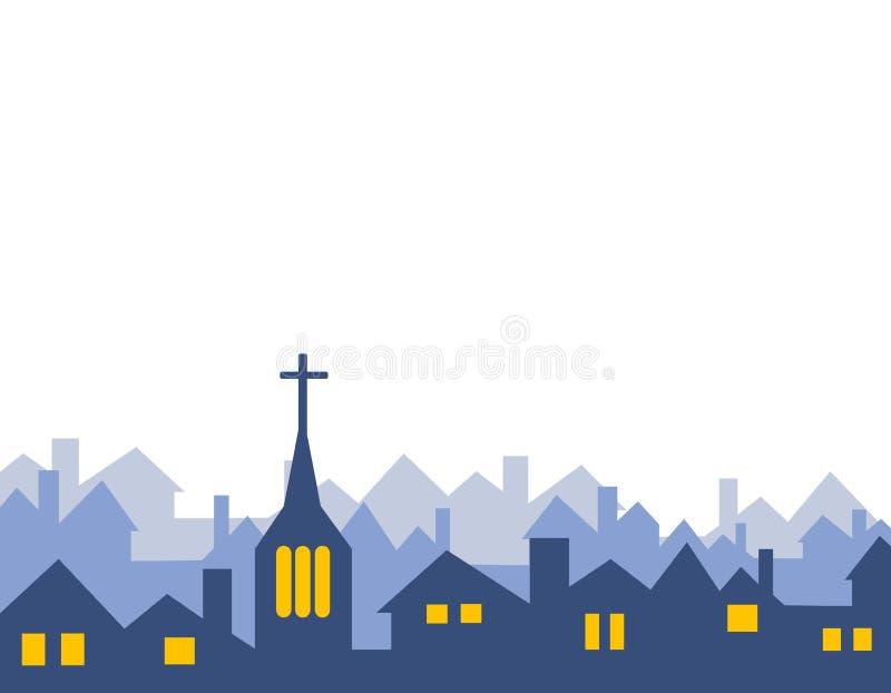 kyrkligt hus isolerade silhouettes royaltyfri illustrationer