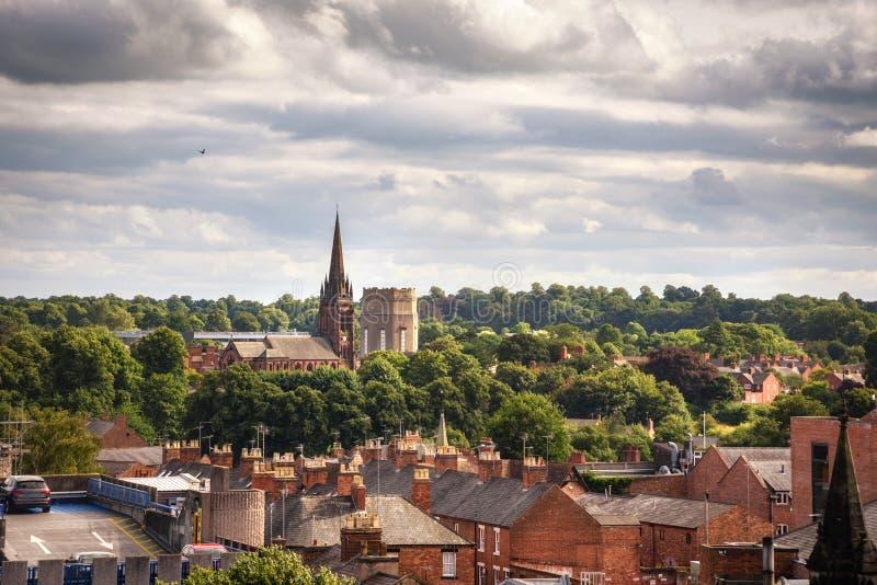 Kyrkligt och hus Chester England royaltyfri foto