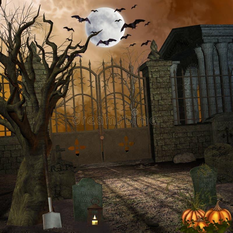kyrkogård stock illustrationer