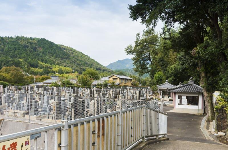 Kyrkogård Arashiyama Kyoto Japan arkivfoton