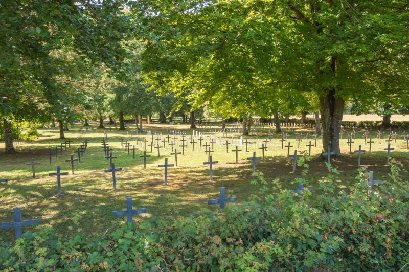 Kyrkogård av storkriget 1914 till 1918 med det åtskilliga lilla korset royaltyfri fotografi