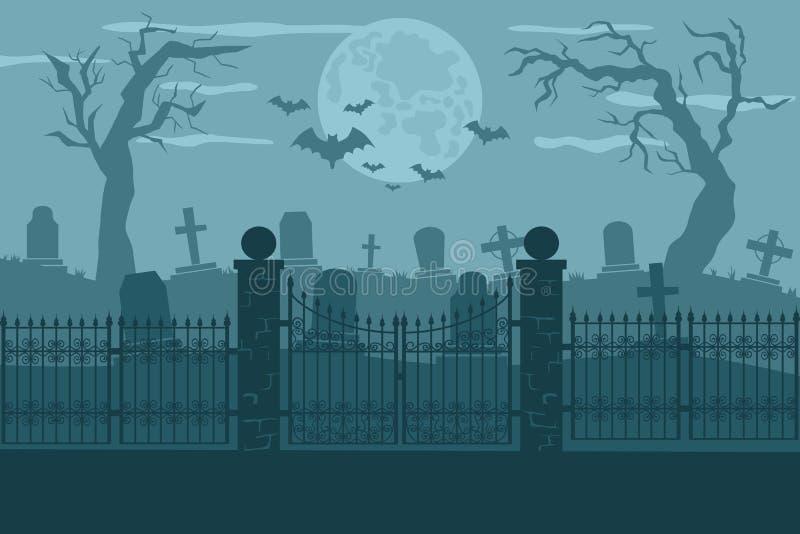 Kyrkogård- eller kyrkogårdbakgrundsillustration vektor illustrationer