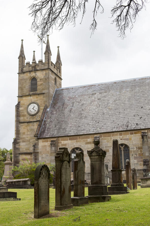 Kyrkogård för St Anne Church i Ryde, Australien royaltyfri bild