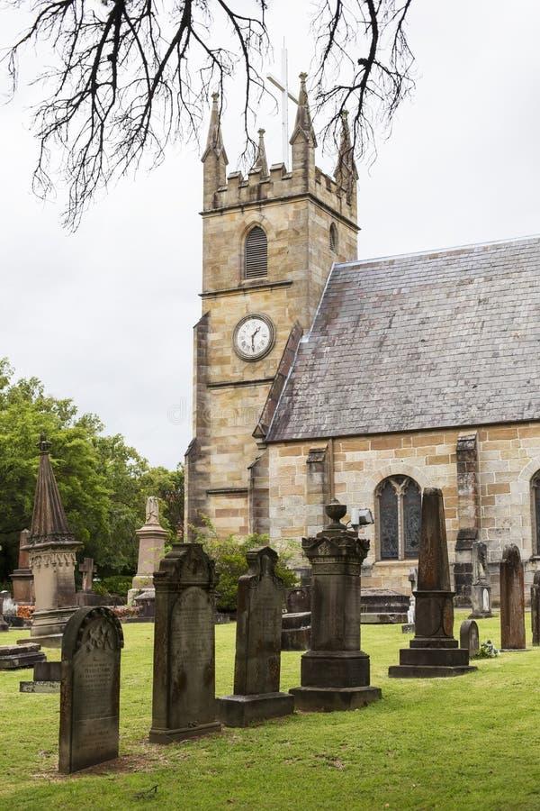 Kyrkogård för St Anne Church i Ryde, Australien royaltyfri fotografi