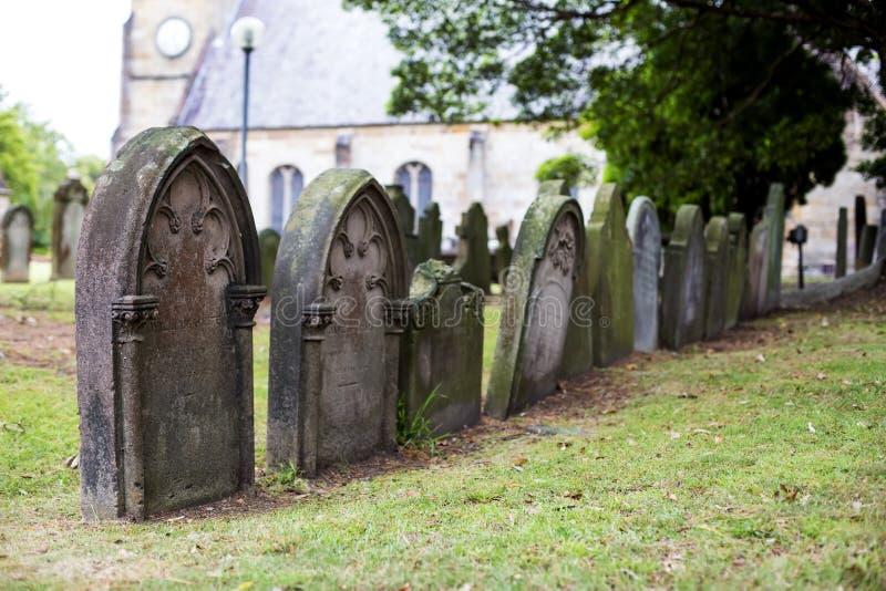 Kyrkogård för St Anne Church i Ryde, Australien royaltyfria bilder