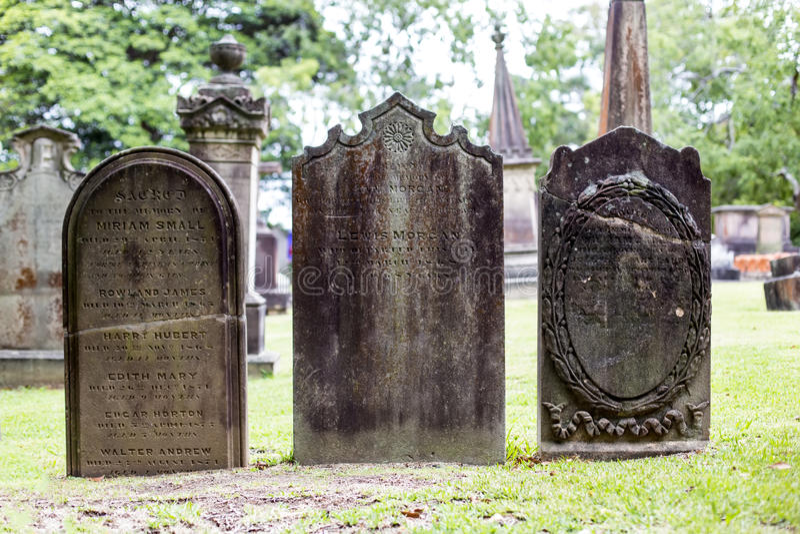 Kyrkogård för St Anne Church i Ryde, Australien royaltyfria foton
