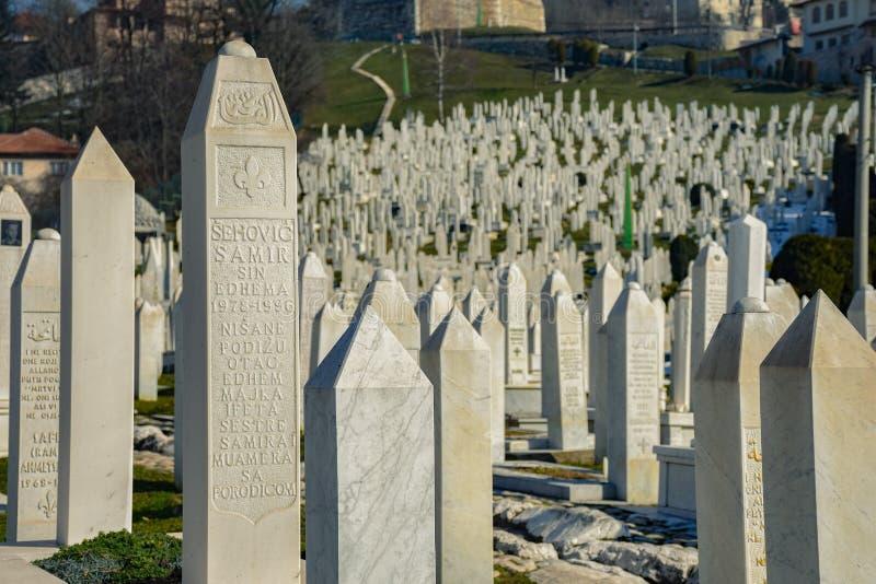 Kyrkogård i Bosnien och Hercegovina arkivbild