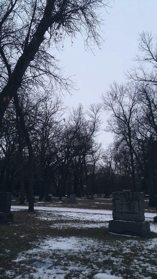Kyrkogård i vinter royaltyfri fotografi