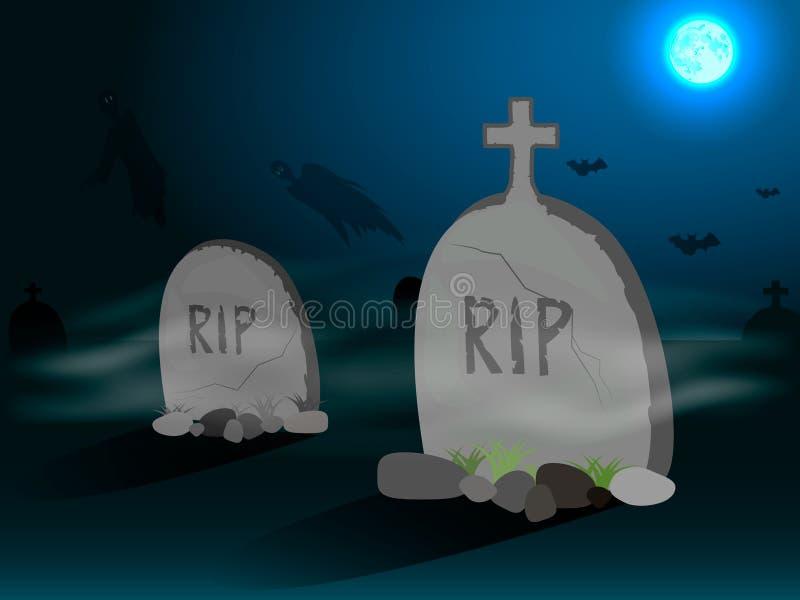 Kyrkogård med gravstenar i stock illustrationer