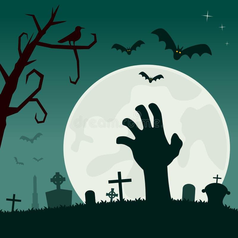 Kyrkogård med levande dödhanden royaltyfri illustrationer