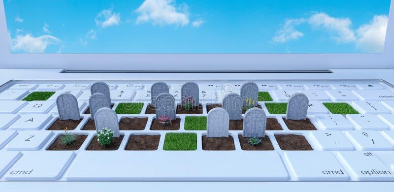 Kyrkogård på bärbar datordatoren, beroende på det digitala världsbegreppet, 3d att framföra stock illustrationer