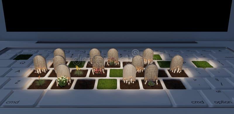Kyrkogård på bärbar datordatoren, beroende på det digitala världsbegreppet, 3d att framföra vektor illustrationer