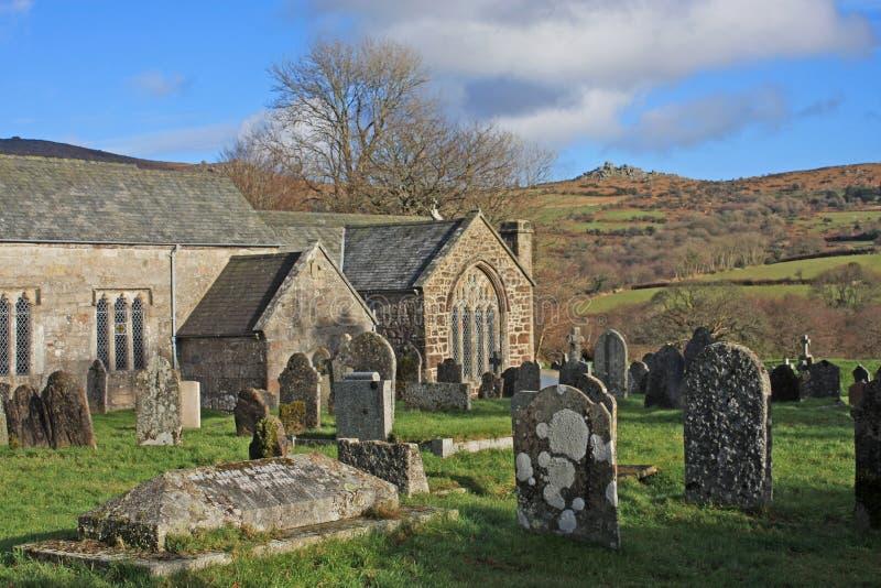 Kyrkogård på Dartmoor royaltyfri bild