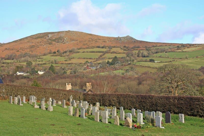 Kyrkogård på Dartmoor arkivfoto