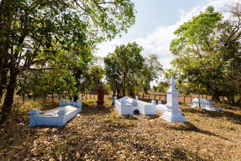 Kyrkogård på Don Khone Laos royaltyfri fotografi
