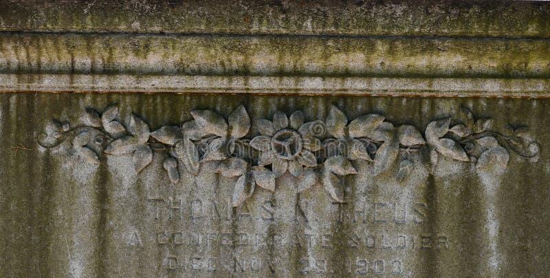 Kyrkogårdgravsten på Savannah Georgia den historiska kyrkogården arkivfoton