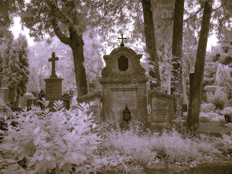 kyrkogårdinfrared salzburg arkivfoton