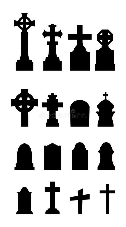 Kyrkogårdsymbolsuppsättning på vit bakgrund royaltyfri illustrationer