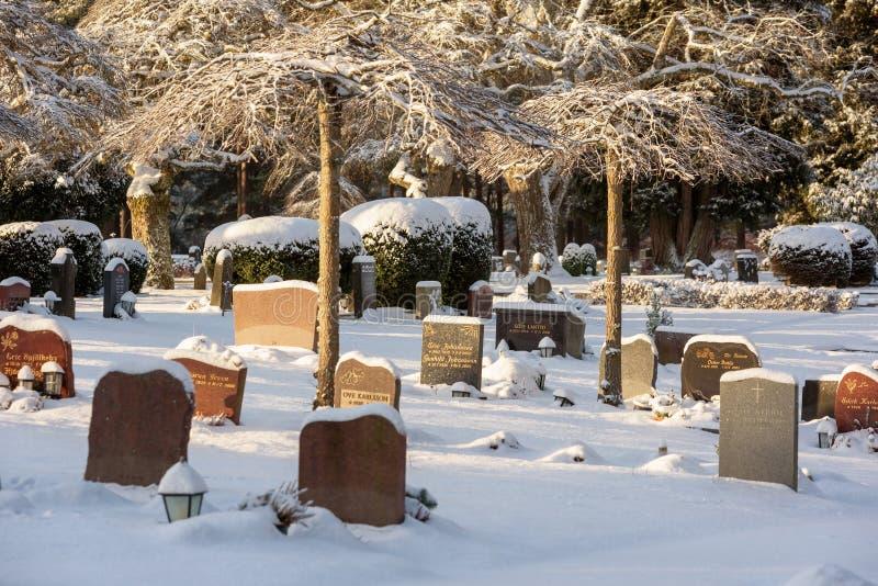 Kyrkogårdvinterlandskap royaltyfria foton