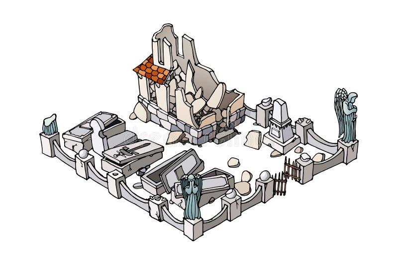 Kyrkog?rdkrypta Isometrisk tecknad filmbyggnad bakgrund isolerad white stock illustrationer
