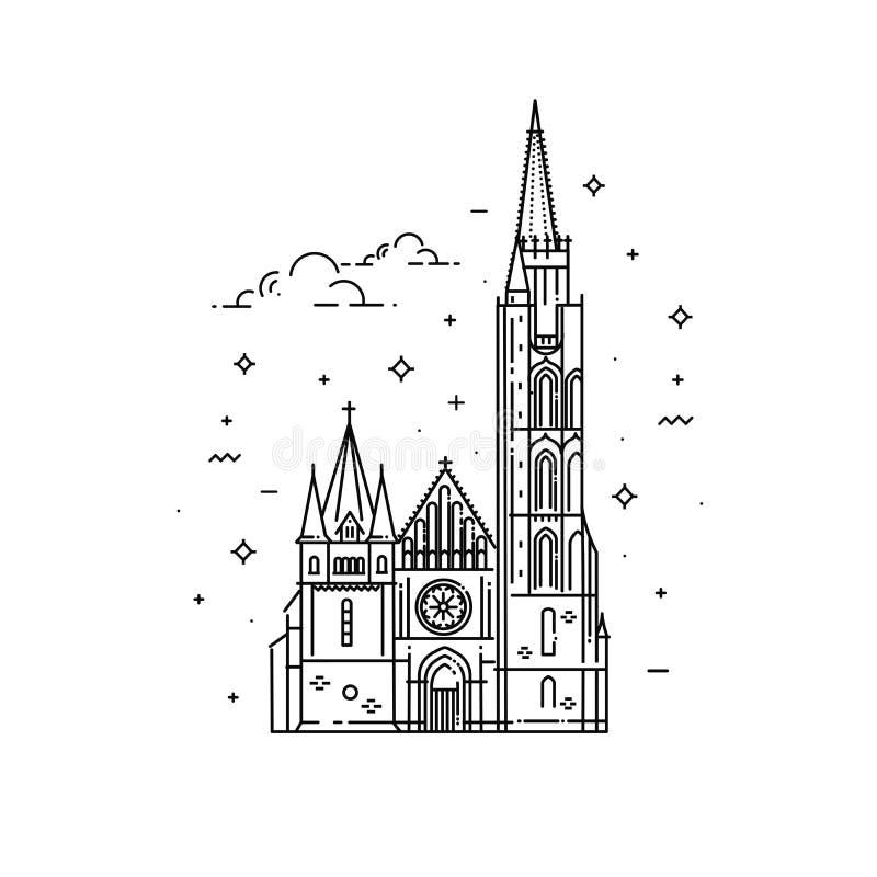 Kyrkor av Ungern Matthias kyrka stock illustrationer