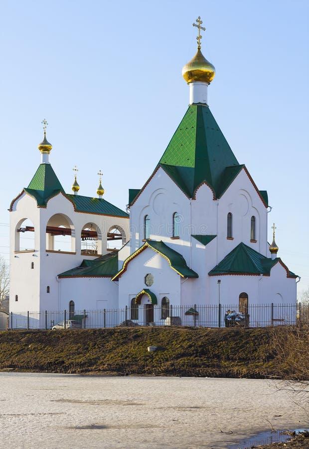 Kyrktaga allra helgon som är ryska i Novokosino, Moskva arkivbilder