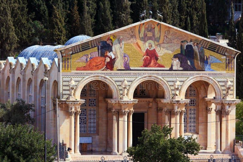 Kyrktaga allra nationer på Mountet of Olives, Jerusalem royaltyfri bild