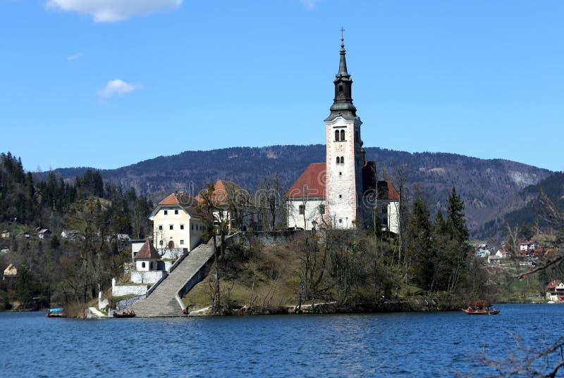 Kyrktaga på ön av sjön som BLÖDAS i SLOVENIEN royaltyfri bild
