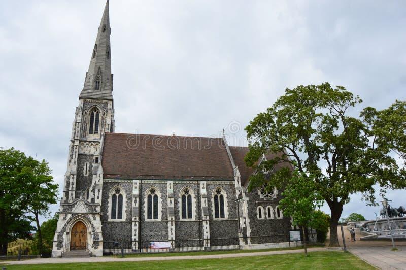 Kyrktar kirke för engelske för hålan för den anglikanska kyrkan för ` s för St som Alban också är bekant som engelska, Köpenhamne royaltyfri bild