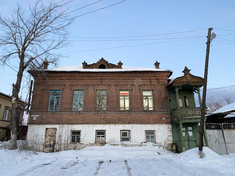Kyshtym, Russia, February, 05, 2020. Historical building of pre-revolutionary construction on Frunze street in Kyshtym in winter. Kyshtym, Russia. Historical stock images