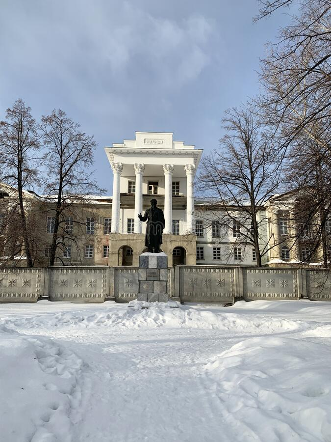 Kyshtym, Russia, February, 06, 2020.  Monument of architecture - Demidov`s estate `White house`  in Kyshtym, 18 century and monume. Kyshtym, Russia.  Monument of stock photos