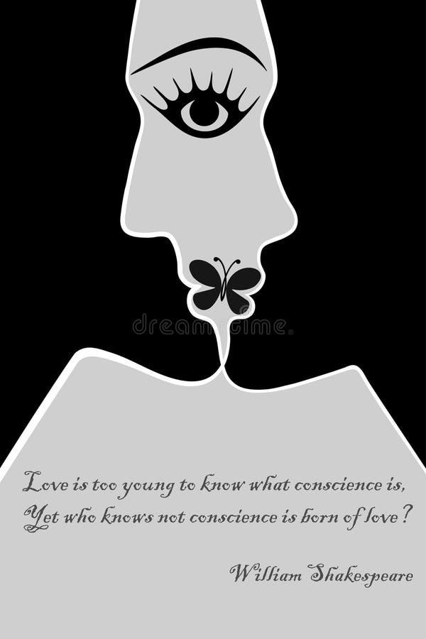 Kyss av förälskelse, vektorgemkonst stock illustrationer