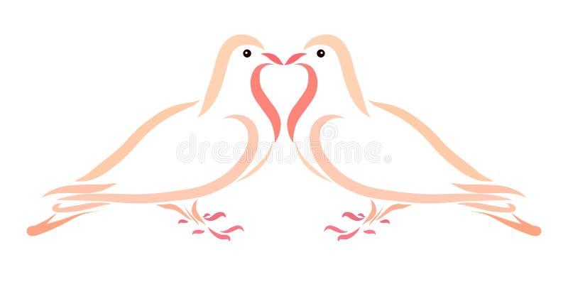 Kyss av två vänner av duvor vektor illustrationer