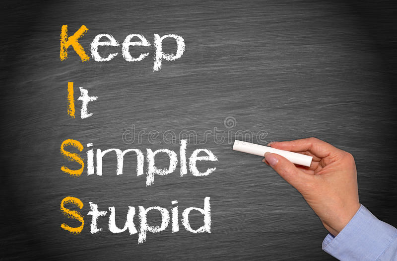 KYSS - Marknadsföringsbegreppet - håll det enkelt och dumt arkivfoto