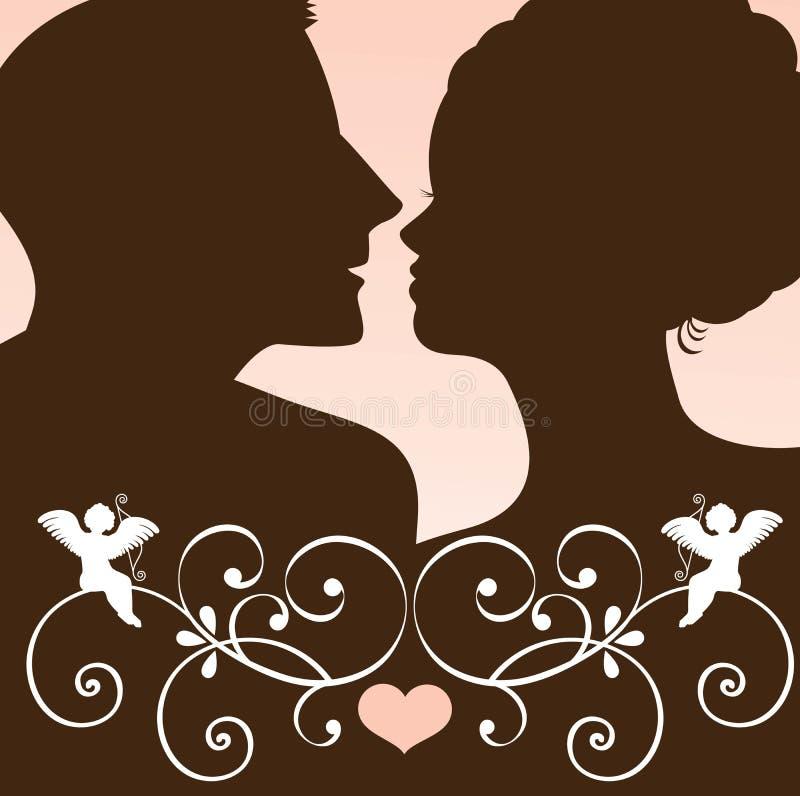 kyss in mot stock illustrationer