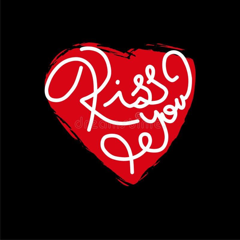 Kyss som du formulerar Handbokstäver Göra perfekt för hälsningkort, citationstecken, bloggar, affischer och mer ägget för designe vektor illustrationer