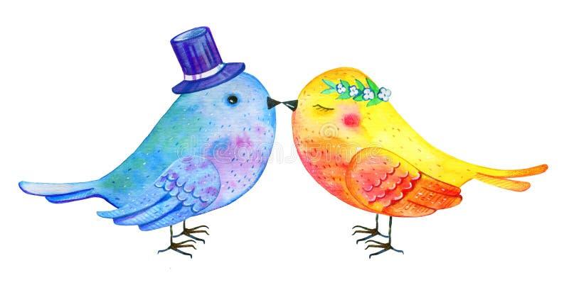 Kyssa för förälskelsefågelpar Utdragen vattenfärgillustration för hand för St-valentin dag vektor illustrationer