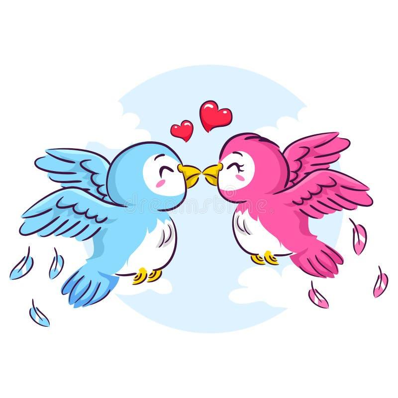 Kyssa för förälskelsefåglar stock illustrationer