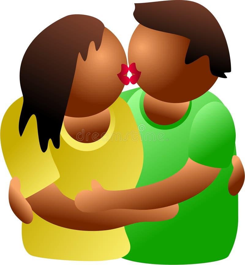 kyssa för par royaltyfri illustrationer