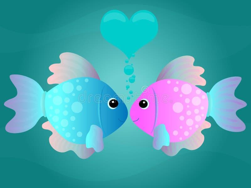 kyssa för tecknad filmfisk royaltyfri illustrationer