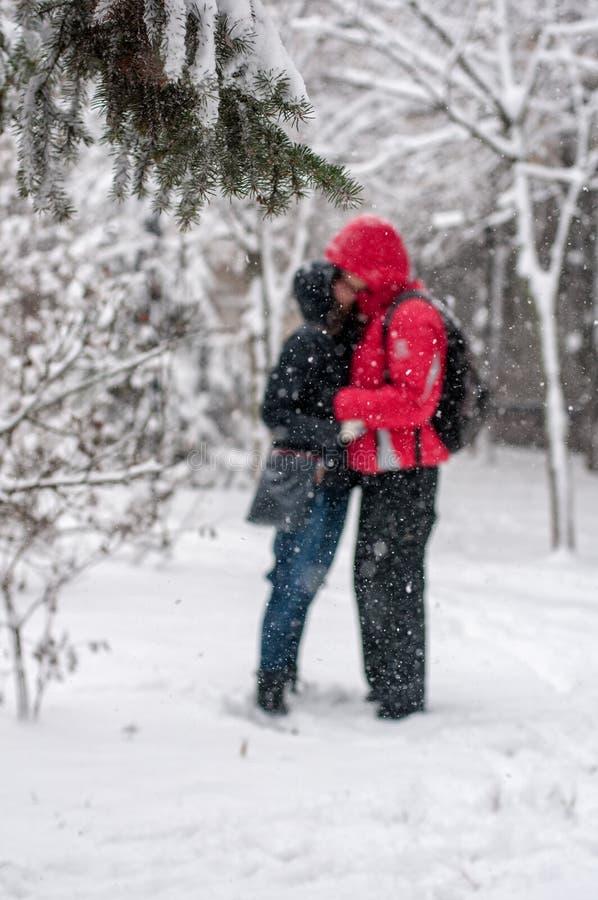 Kyssa i snöig vinter fotografering för bildbyråer