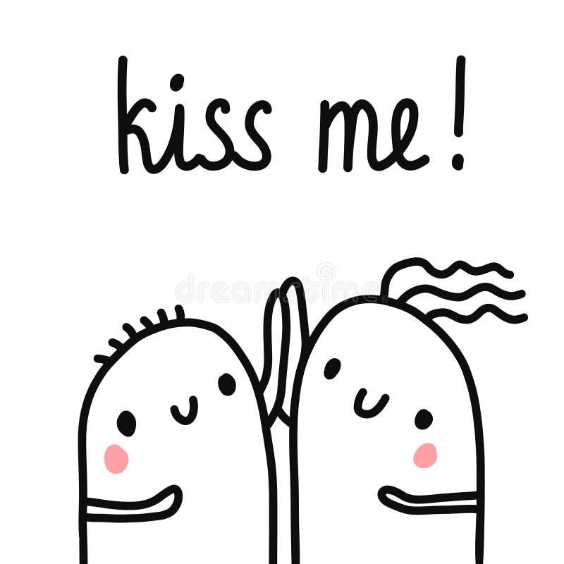 Kyssa mig för att räcka den utdragna illustrationen med att märka två marshmallower som rymmer händer som tillsammans daterar för royaltyfri illustrationer